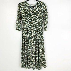 Vintage 3/4 Sleeve Floral Daisy Midi Dress